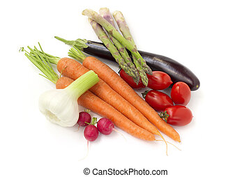 set of raw vegetables on white background