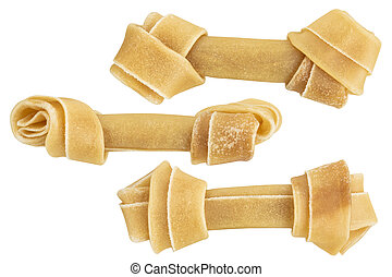 set of rawhide bone for dog chew isolated on white background