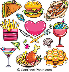 Set of ready-to-eat food icons 2 - Set of ready-to-eat food...