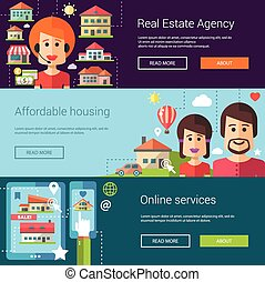 Set of real estate flat modern illustrations, banners,...