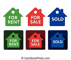 set of real estate house icon red green and blue houses with text for rent sold for sale in simple flat design on rounded square with shadow and isolated on white background