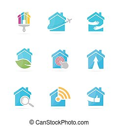 Set of real estate logo combination. House and building symbol or icon. Unique rent and architecture logotype design template.