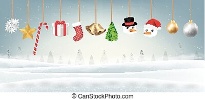 set of real hanging merry christmas object vector