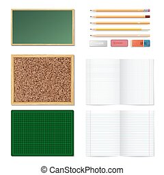 Set of realistic 3d wooden colored pencils, erasers, blank chalk green board, brown cork board in a frame and