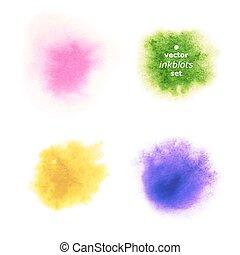 Set of Realistic Aquarelle Blots on White Background.