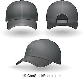 Set of realistic black baseball caps isolated on white background. Vector