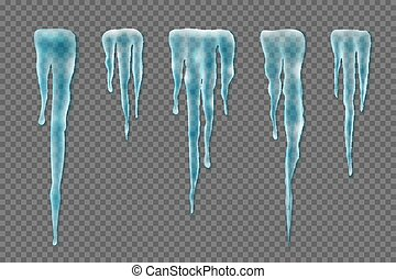 Set of realistic borders with snow icicles on transparent background. Elements for christmas design, vector illustration