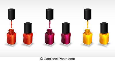Set of realistic bottles of nail polish. Vector illustration