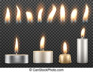 Set of realistic burning candles isolated on a transparent background.