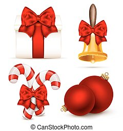 Set of realistic Christmas objects.