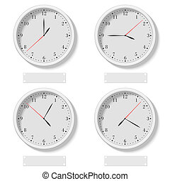 Set of realistic classic round clocks showing various time....
