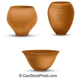 Set of realistic clay pots isolated on white background