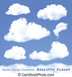 Set of Realistic Clouds on blue sky.