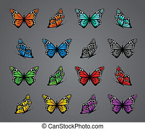 Set of realistic colorful butterflies. Vector