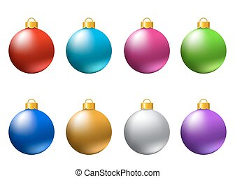 Set of  realistic  colorful   Christmas  balls  isolated on white background.