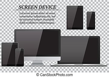 Set of realistic computer monitor, laptop, tablet and mobile phone with empty black screen on transparent background