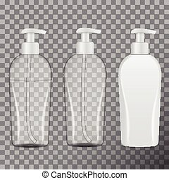 Set Of Realistic Cosmetic Bottles. Tube Or Container For Cream, Ointment, Lotion, Shampoo. Vector Mock Up Illustration