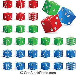 Set of realistic dice - Set of color realistic dice....