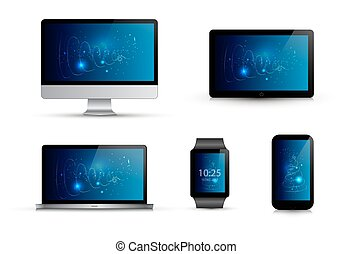 Set of realistic electronic gadgets. Abstract blue wallpaper. Computer monitor, laptop, smart watch, mobile phone, tablet. Isolated vector illustration. Mock up template.