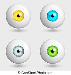 set of realistic eyes with different colors of irises