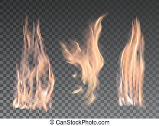 Set of realistic fire flames on transparent background....