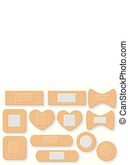 Set of realistic first aid band plaster strip. Elastic bandage patch