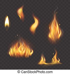 Set of realistic flame tongues isolated on a dark background.