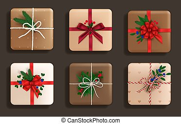 Set of realistic gifts top view
