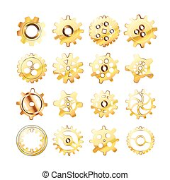 Set of realistic glossy golden cogwheels on white