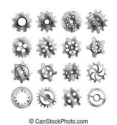 Set of realistic glossy metal cogwheels on white