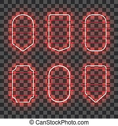 Set of realistic glowing red neon frames