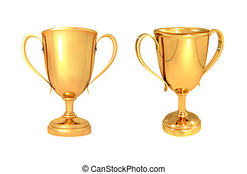 Set of realistic gold cups isolated on a white background Vector illustration