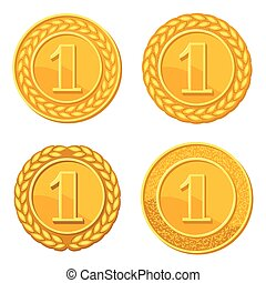 Set of realistic gold medals. Illustration of awards for sports or corporate competitions