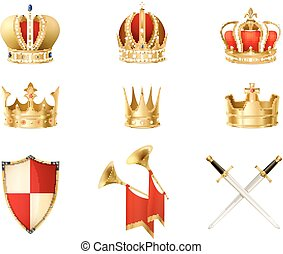 Set Of Realistic Golden Royal Crowns
