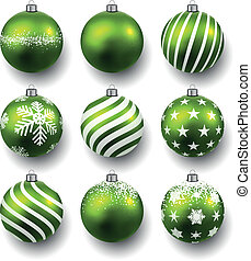 Set of realistic green christmas balls.