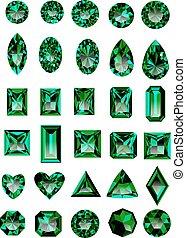 Set of realistic green emeralds - Set of realistic green...
