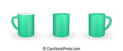 Set of Realistic green mug on a white background. 3D rendering. Vector Illustration