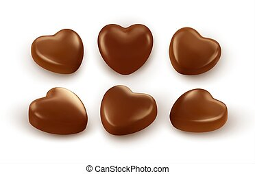 Set of realistic heart shaped chocolates isolated on white background. Festive design element for Happy Valentines Day. Vector illustration EPS10