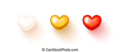 Set of realistic hearts isolated on transparent background. White, red and gold 3D heart with shadow. Vector illustration