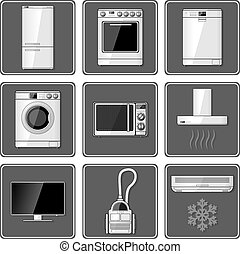 Set of realistic household appliances.