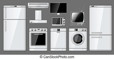 Set of realistic household appliances. Vector illustration.