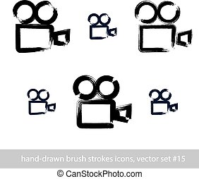 Set of realistic ink hand-drawn vector stroke video camera icons, collection of simple hand-painted camera symbols isolated on white background.