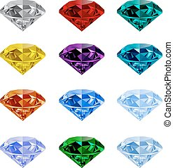 Set of realistic jewels on white background - Set of shining...