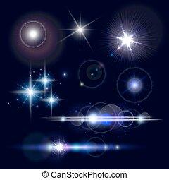 Set of realistic lens flares star lights