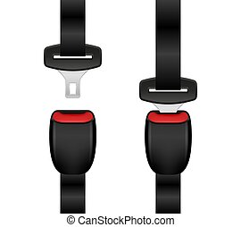 Set of realistic locked and unlocked seat belt. Open and closed automobile seat belts