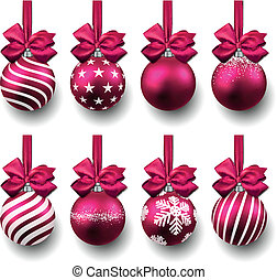 Magenta christmas balls on gift bows. Set of isolated realistic decorations. Vector illustration.
