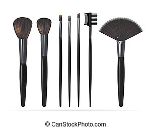 Set of Realistic Make Up Brushes Isolated on white background. Vector illustration
