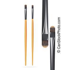 Set of Realistic Make Up Yey Brush Isolated on white background. Vector illustration