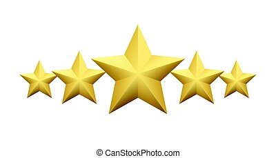 Set of Realistic metallic golden star isolated on white background. Vector illustration