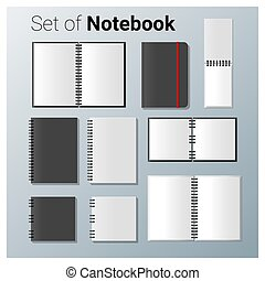 Set of realistic notebook